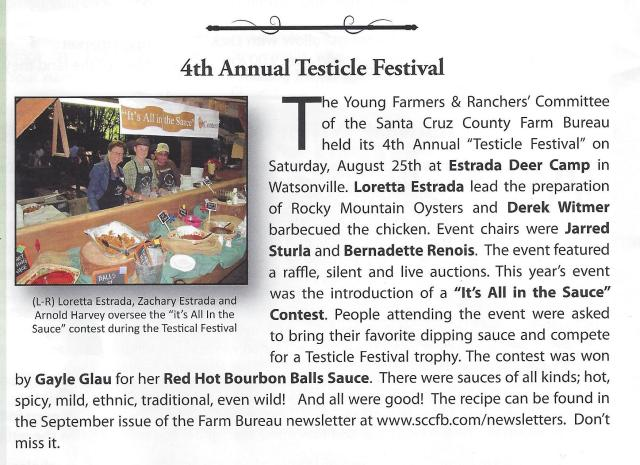 2012 Testicle Festival Ad, Santa Cruz County