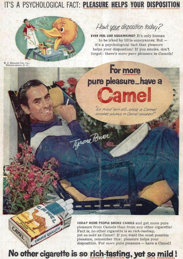 Camel Ad 1956 Tyrone Power