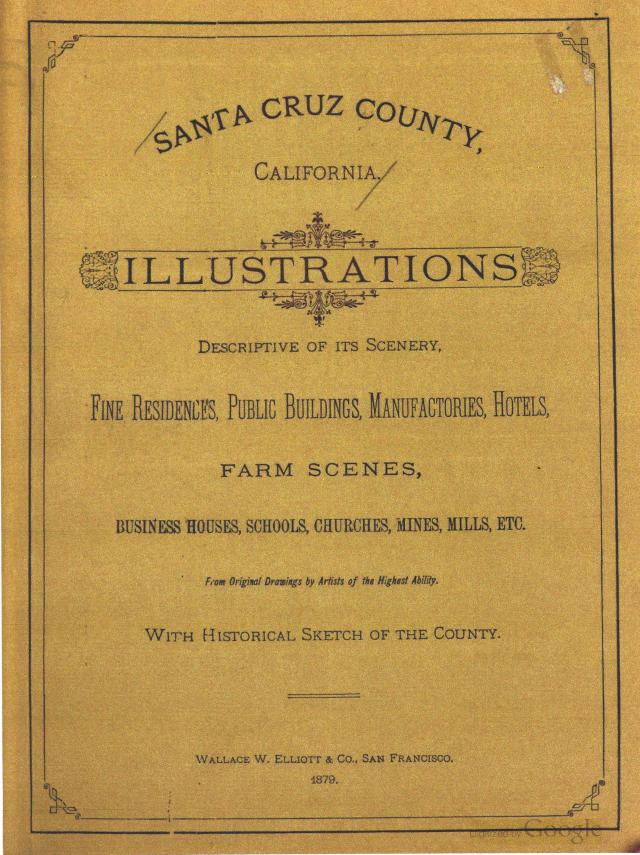 "Front page of 1879 book ""Santa Cruz County, California."""