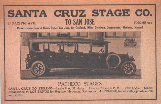 1921 ad for Santa Cruz Stage Company.