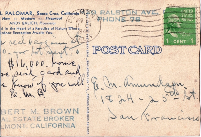 Back of 1940 postcard.