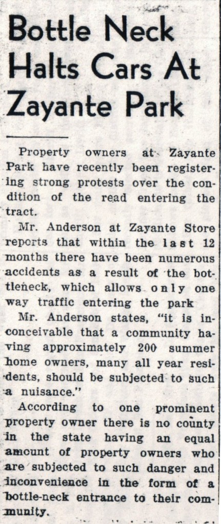 1938 newspaper article about the Bottleneck at Zayante Park. Courtesy SCPL.