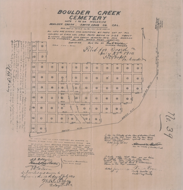 1910 map of Boulder Creek Cemetery.