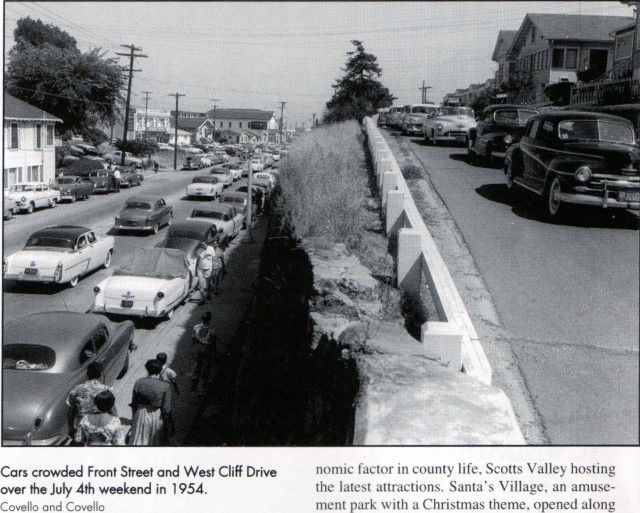 1954 shot of Front St and West Cliff Dr, Santa Cruz, Calif.