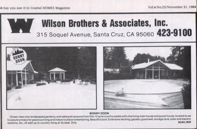 1984 Bonny Doon Real Estate Ad. Courtesy of Santa Cruz Public Library.