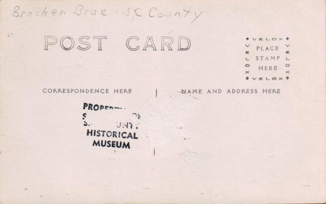 Back of postcard of Bracken Brae bridge. Boulder Creek? Undated.