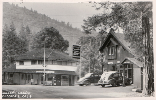 Hollen's Corner, Brookdale, Ca. circa 1940's? Courtesy of MAH.
