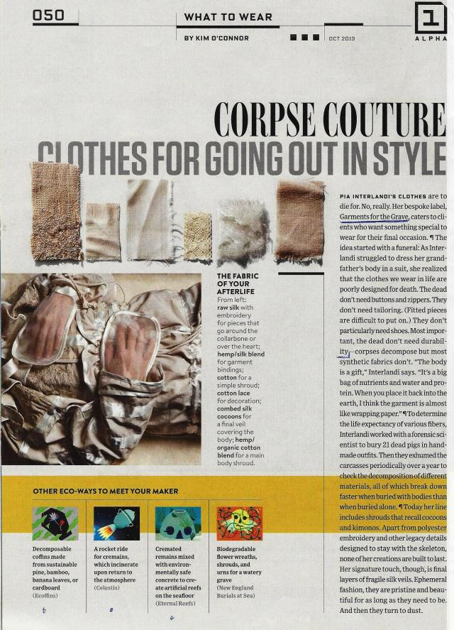 Corpse Couture for the Style Conscious.
