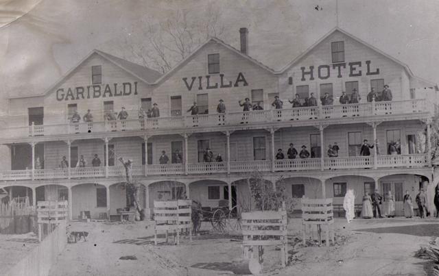 Garibaldi  Villa Hotel, late 1800's (on Pacific Ave?) in Santa Cruz. Courtesy of Jim Costella.