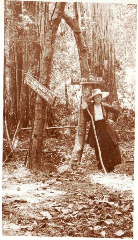 Circa 1918 Gilla Dolly De Wald, Berry Falls, Big Basin State Park Boulder Creek. Courtesy of Thelma De Wald Dalman.