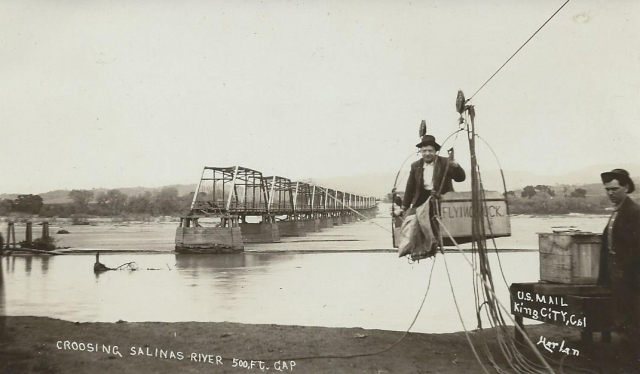 1914 Postcard of U.S mail delivery after Salinas River flood, King City, CA. Courtesy Carol Harrington.